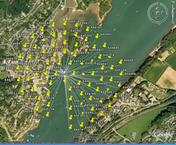 St. George's Pier, Menai Strait placemarks displayed on Google Earth