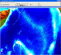 Displaying bathymetry data through the GDA software interface.