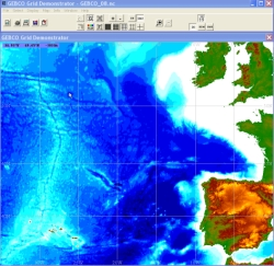 Viewing GEBCO_08 using the GEBCO Grid display software.