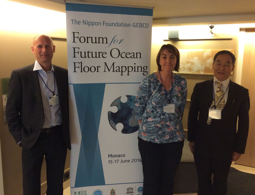 Graham Allen and Pauline Weatherall with Shin Tani at the GEBCO Forum