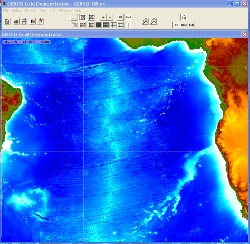 Displaying South Atlantic bathymetry within the software.