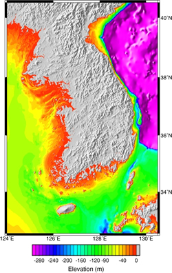 Shallow water areas around the Korean Peninsula