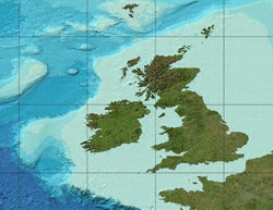 UK Shelf as shown by GEBCO (the General Bathymetric Chart of the Oceans)