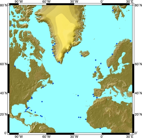 North Atlantic sea level sites
