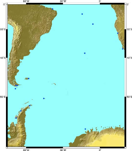 South Atlantic sea level sites