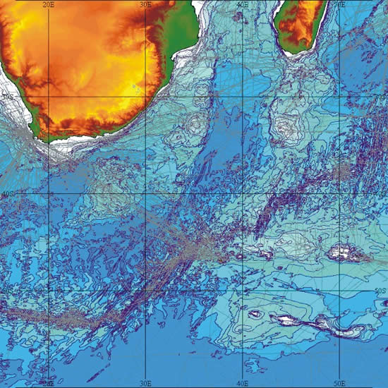 Trackline control data can be overlain on the bathymetric data sets
