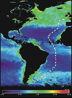 AMT12 monthly composite SeaWiFS image with cruise track