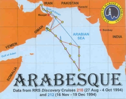 Image from the ARABESQUE CDROM cover showing cruise tracks