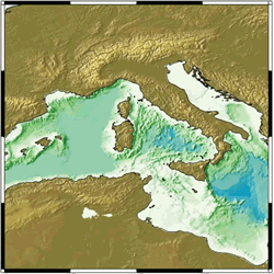Bathymetry of the Strait of Sicily