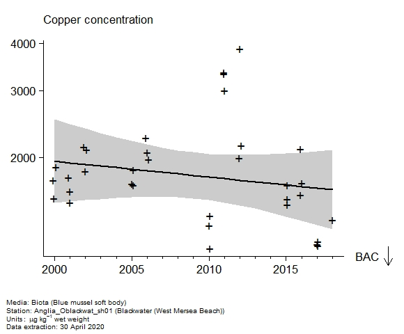 Raw data with assessment of  copper in biota at West Mersea Beach (Blackwater)