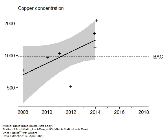 Raw data with assessment of  copper in biota at Loch Ewe (Minch Malin)
