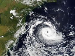 Tropical cyclone Catarina, 26 March 2004. The first hurricane recorded in the South Atlantic. Image courtesy of MODIS Rapid Response project at NASA/GSFC.
