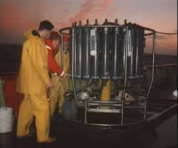 A CTD deployment during a UK WOCE cruise