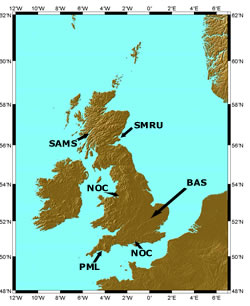 NERC's research and collaborative centres with marine science expertise