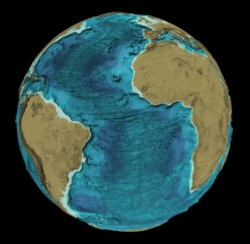 Bathymetry for the Atlantic Ocean from the GEBCO_08 Grid
