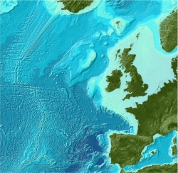 Bathymetry data for the Northeast Atlantic from the GEBCO_08 Grid